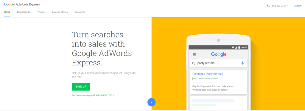 google adwords ads express no usar