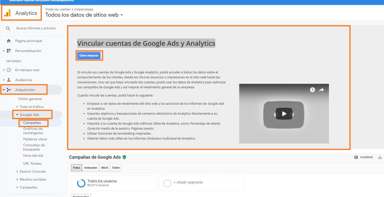 como integrar analytics y adwords