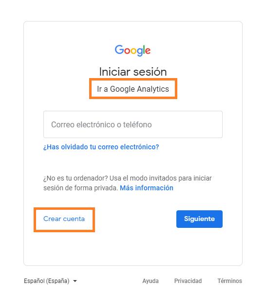 1 crear una cuenta en google analytics