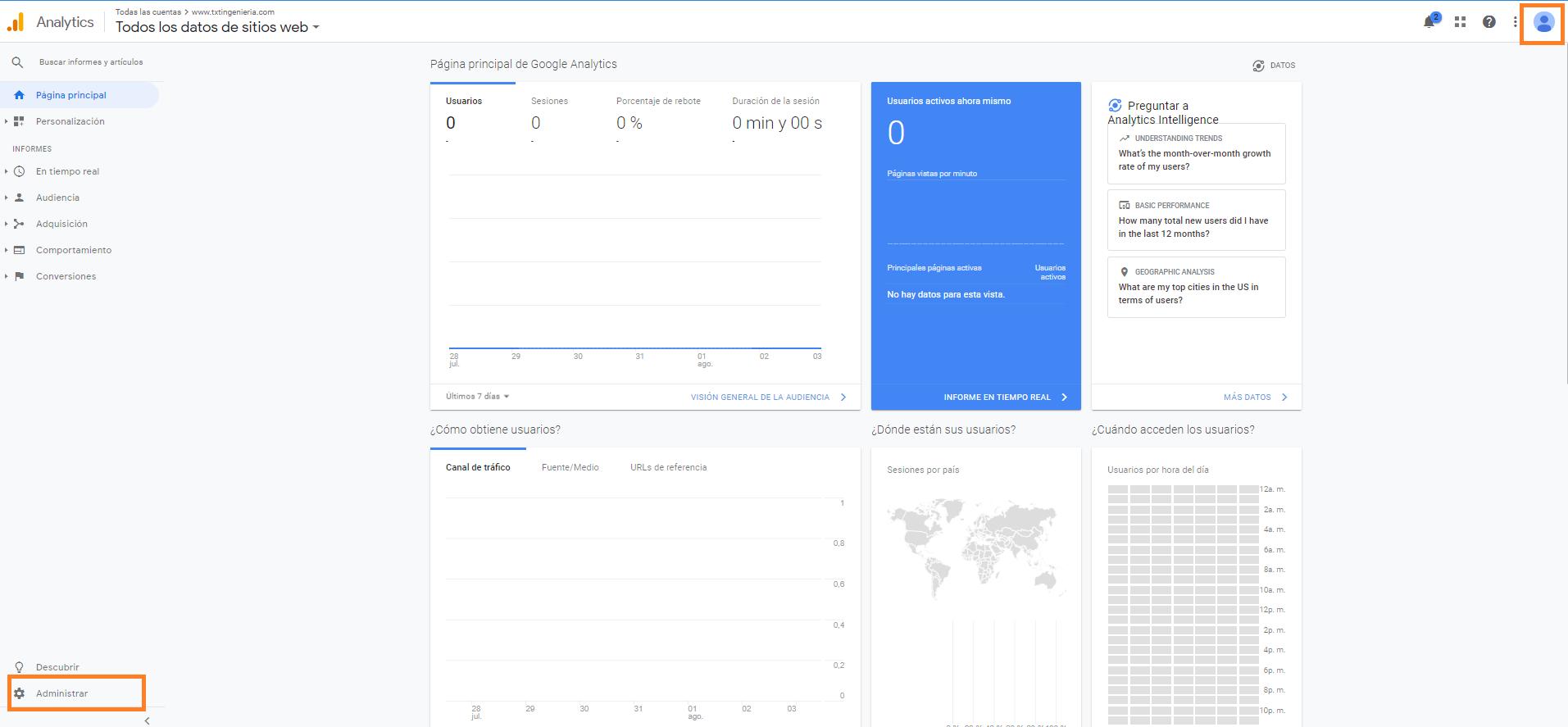 2 como conceder acceso a tu cuenta google analytics panel administracion