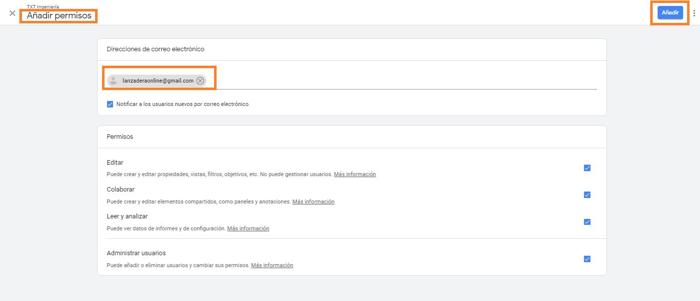 4 como conceder acceso a tu cuenta google analytics añadir permisos y usuarios