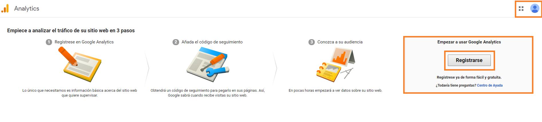 4 crear una cuenta en google analytics registrarse