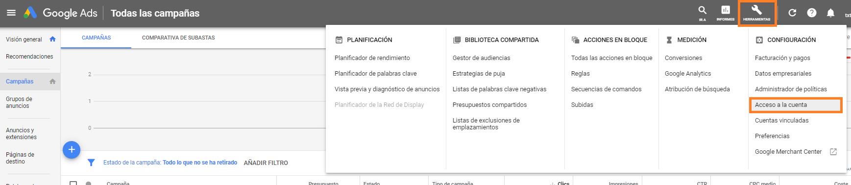 CUENTA MCC DE GOOGLE ADWORDS GOOGLE ADS añadir cuenta CLIENTE HERRAMIENTAS ACCESO A LA CUENTA