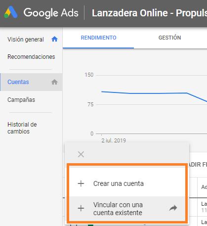 CUENTA MCC DE GOOGLE ADWORDS GOOGLE ADS añadir cuenta cliente nueva o existente