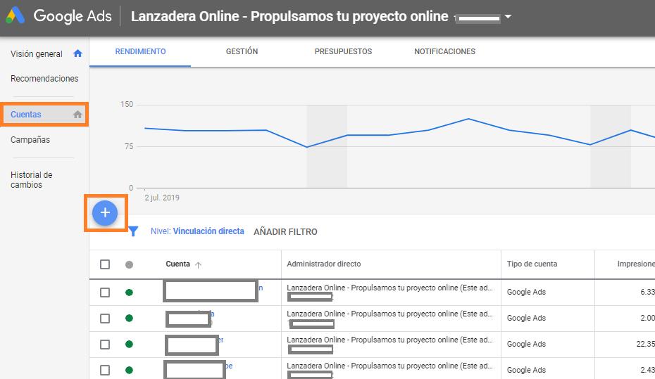 CUENTA MCC DE GOOGLE ADWORDS GOOGLE ADS añadir cuenta cliente