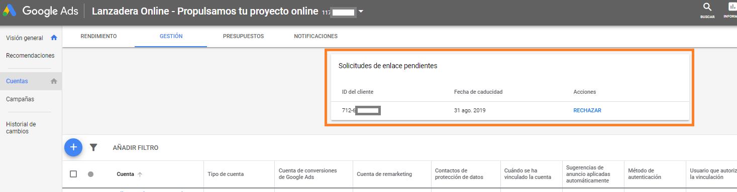 CUENTA MCC DE GOOGLE ADWORDS GOOGLE ADS añadir cuenta existente solicitud de enlace pendiente