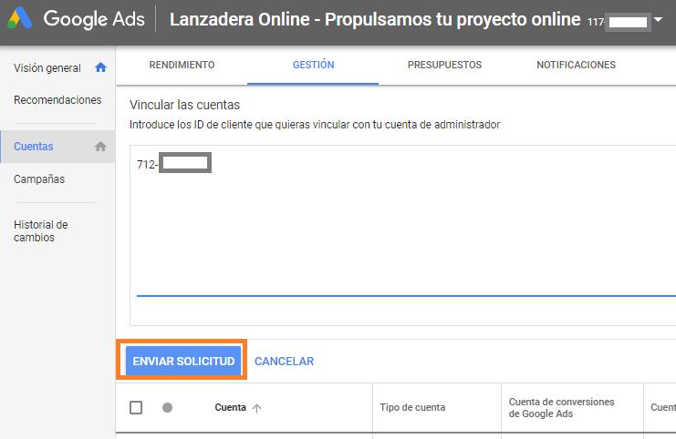 CUENTA MCC DE GOOGLE ADWORDS GOOGLE ADS añadir cuenta existente
