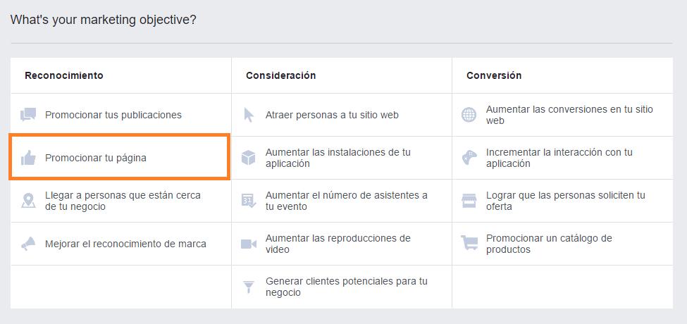 Inicio Administrador de Anuncios Facebook