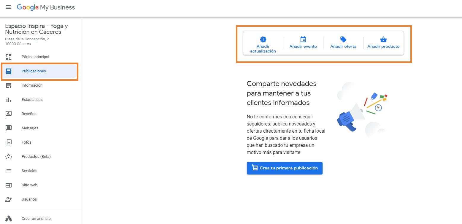 como crear buen perfil google my business añadir publicaciones tipos de publicaciones