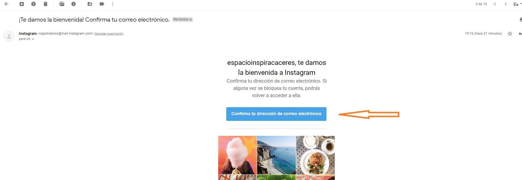 abrir perfil instagram nuevo elementos verificar email