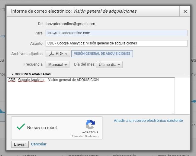 COMO activar reporte DE google analytics POR EMAIL AUTOMATICO cada mes 6