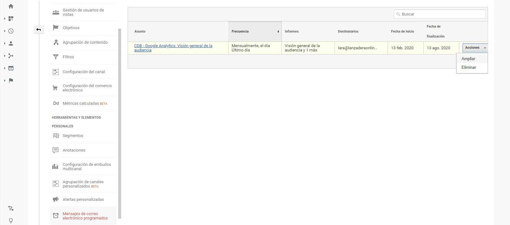 recibir editar cambiar informes de google analyctis por email de forma automatica 10