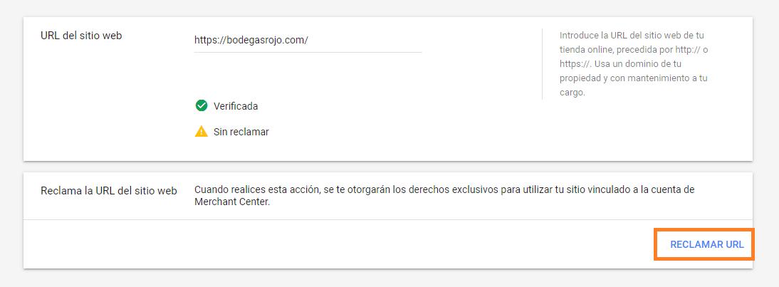 RECLAMAR URL DE GOOGLE MERCHANT CENTER CON CODIGO