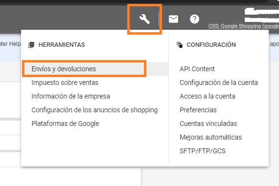 como configurar envios y devoluciones en google merchant center