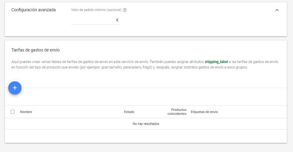 como configurar gastos de envio en google merchant center 2