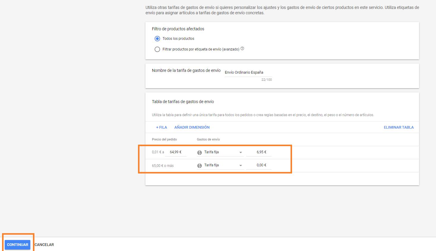 como poner envio gratuito a partir de cantidad en google merchant center