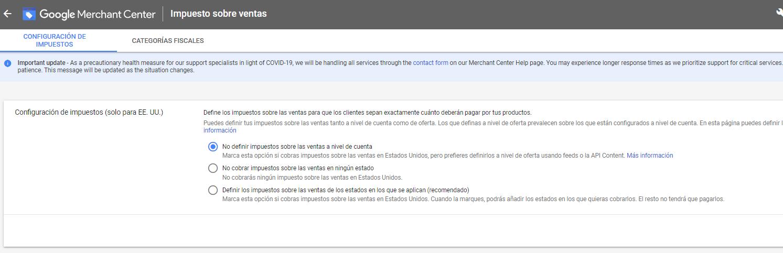 configuracion de impuestos en google merchant center 2