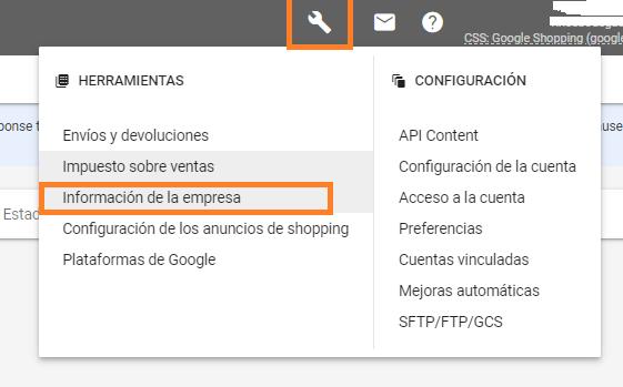 configurar datos empresa en google merchant center