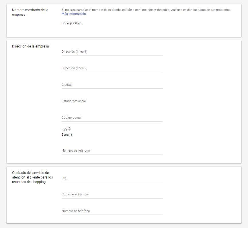 configurar informacion de empresa en google merchant center