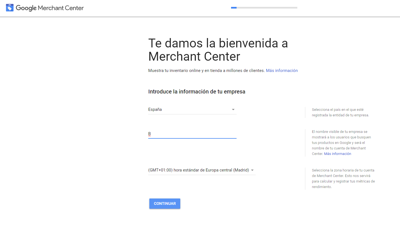 primeros pasos en creacion de cuenta de google merchant center