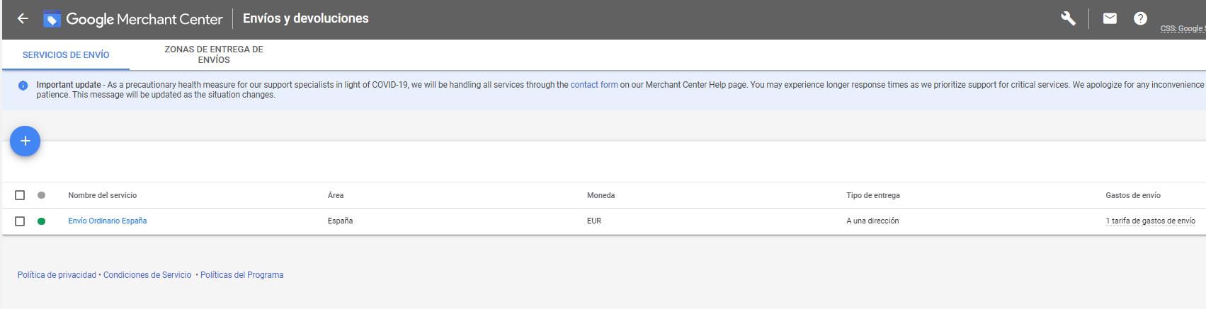 resumen tarifas de envio google merchant center google shopping